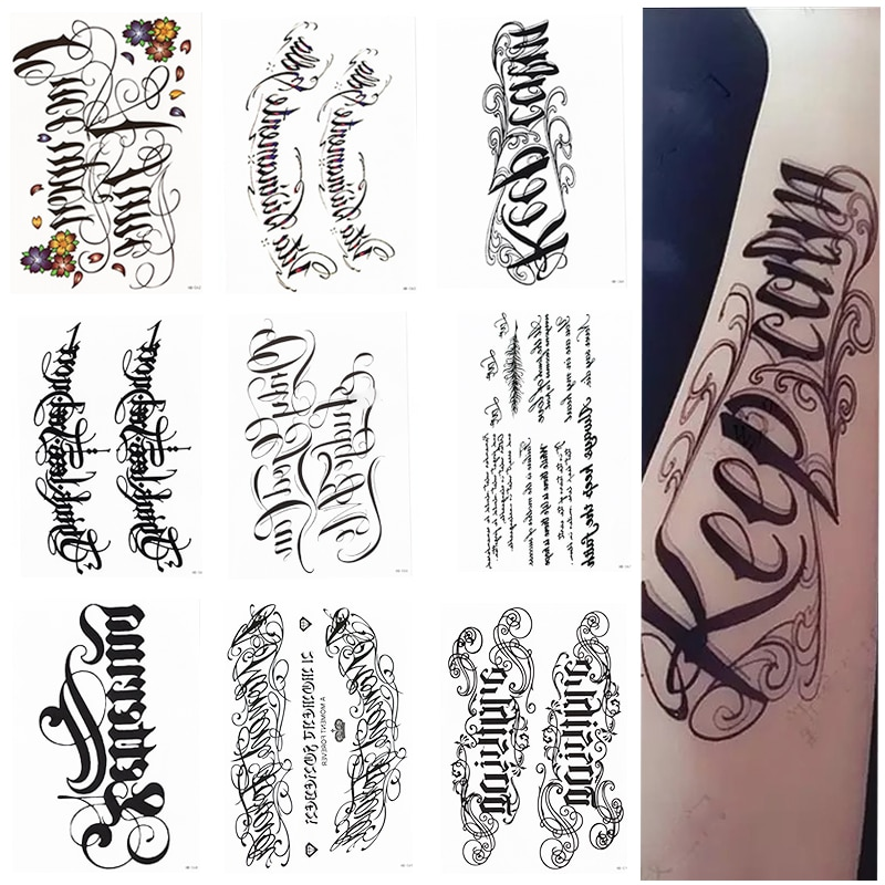 Temporary Tattoos Body Art Stickers Black Fashion Various Designs Words Waterproof Removable Stickers Party Vacation 9 Sheets Nana S Corner Beauty Cosmetic
