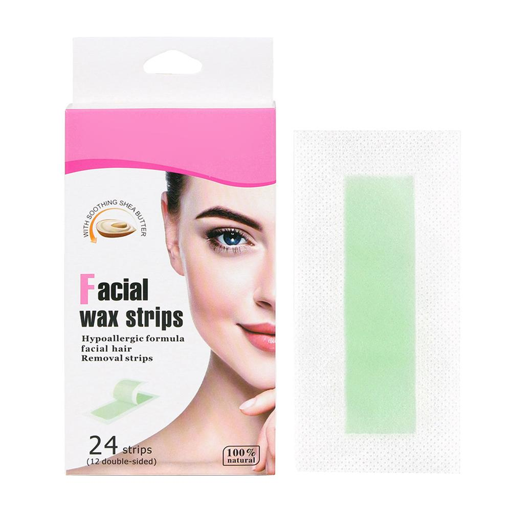 24pcs Hair Removal Wax Strip Waxing Wipe Sticker For Face Leg Lip